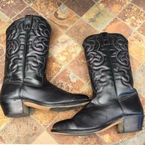 Texas Boot Company Shoes - Texas Brand Black Leather Cowboy Boots